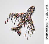 large group of people in the... | Shutterstock .eps vector #421039246