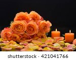 Rose With Petals With Candle ...