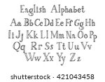 vector alphabet. hand drawn... | Shutterstock .eps vector #421043458