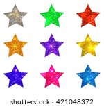 set of glittering stars on... | Shutterstock .eps vector #421048372