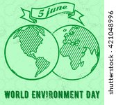 vintage world environment day... | Shutterstock .eps vector #421048996