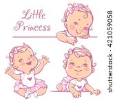 set with cute little baby girl... | Shutterstock .eps vector #421059058