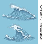 Ocean Waves. Design Set. Hand...