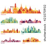 skyline detailed silhouette set ... | Shutterstock .eps vector #421070932