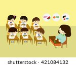 teacher with children in class... | Shutterstock .eps vector #421084132
