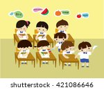 children misbehave in the... | Shutterstock .eps vector #421086646