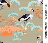 seamless pattern with birds.... | Shutterstock .eps vector #421086718