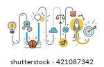 flat line illustration concept... | Shutterstock .eps vector #421087342