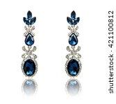 pair of sapphire earrings...   Shutterstock . vector #421100812
