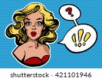 surprised woman with speech... | Shutterstock .eps vector #421101946