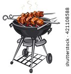 grilled hot meat kebabs on... | Shutterstock .eps vector #421108588