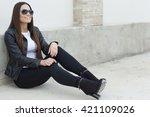 beautiful fashionable young...   Shutterstock . vector #421109026