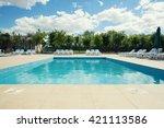 empty pool outdoors. summer... | Shutterstock . vector #421113586