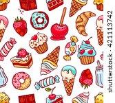 cute seamless pattern of a... | Shutterstock .eps vector #421113742