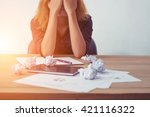 young business woman tired and... | Shutterstock . vector #421116322