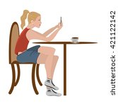 girl in cafe  chat on... | Shutterstock . vector #421122142