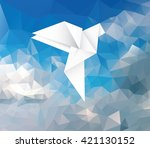 flying paper dove abstract... | Shutterstock .eps vector #421130152