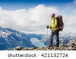 woman traveler with backpack... | Shutterstock . vector #421132726