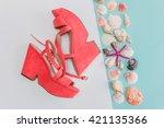 Summer Sandals And Seashells O...