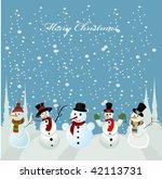 christmas card  snowman | Shutterstock .eps vector #42113731