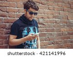 bearded  young stylish hipster... | Shutterstock . vector #421141996