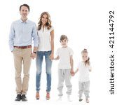 happy family isolated on white... | Shutterstock . vector #421144792