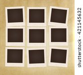 collage photos frames on... | Shutterstock .eps vector #421145632