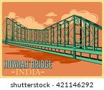 vintage poster of howrah bridge ... | Shutterstock .eps vector #421146292