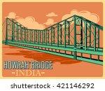 vintage poster of howrah bridge ...   Shutterstock .eps vector #421146292