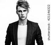 elegant stylish handsome man.... | Shutterstock . vector #421146322