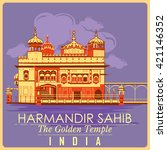 vintage poster of golden temple ... | Shutterstock .eps vector #421146352