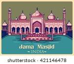 vintage poster of jama masjid... | Shutterstock .eps vector #421146478