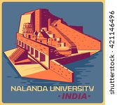 vintage poster of nalanda... | Shutterstock .eps vector #421146496