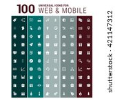 100 universal web and mobile... | Shutterstock .eps vector #421147312