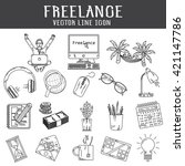 set of freelance vector line... | Shutterstock .eps vector #421147786