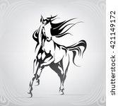 silhouette of the running horse | Shutterstock .eps vector #421149172
