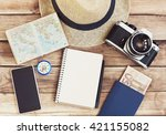 accessories for travel.... | Shutterstock . vector #421155082