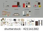 furniture interior elements.... | Shutterstock .eps vector #421161382