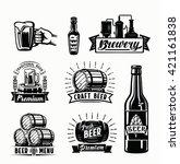 set of vector beer badges on... | Shutterstock .eps vector #421161838