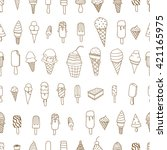 tasty ice creams seamless... | Shutterstock .eps vector #421165975