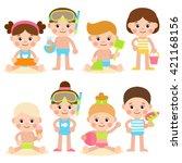 funny kids on the beach. boys... | Shutterstock .eps vector #421168156