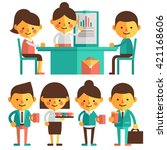 working meeting and coffee... | Shutterstock .eps vector #421168606