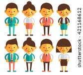 set of characters in a flat... | Shutterstock .eps vector #421168612