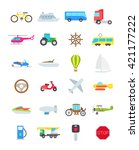 set of 24 transport vector... | Shutterstock .eps vector #421177222