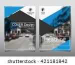 blue magazine annual report... | Shutterstock .eps vector #421181842