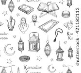 the pattern of sketches on the... | Shutterstock .eps vector #421182112