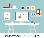 home office  desktop white...   Shutterstock .eps vector #421182376