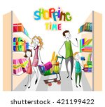 customers shopping at the... | Shutterstock .eps vector #421199422