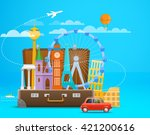 vacation travelling composition ... | Shutterstock .eps vector #421200616