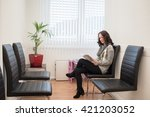 young patient reading a... | Shutterstock . vector #421203052